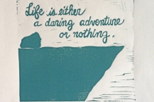Life is an Adventure linocut print