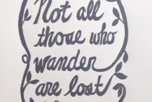 Not All Who Wander Are Lost (gray) - linocut by Michelle Han